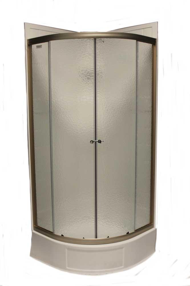 36 Quot Round Shower Door With Obscured Glass Nickel Jazz