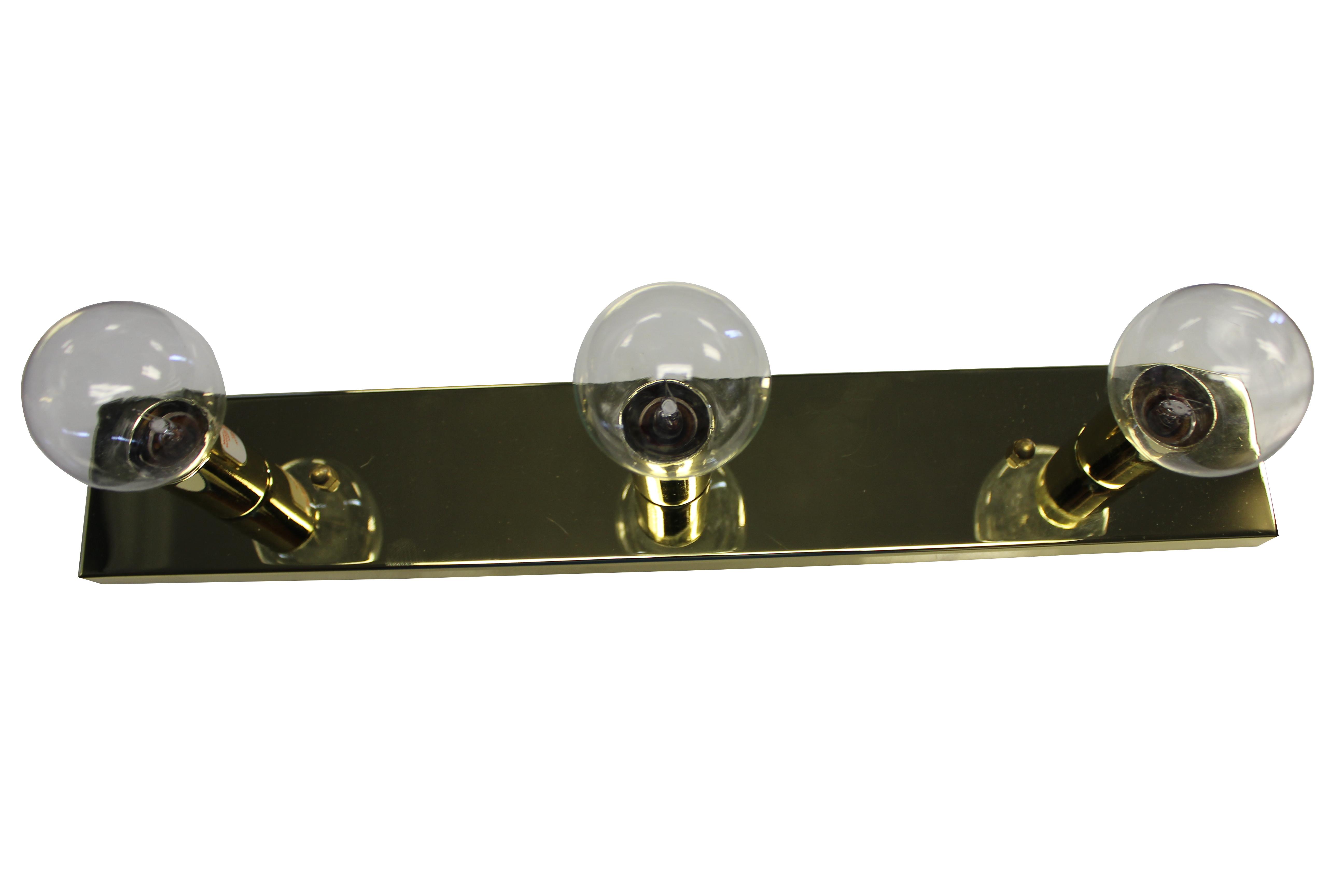 Hollywood Vanity Light Bulbs : 3-Bulb Hollywood Vanity Light - Brass with Clear Bulbs - Jazz Sales